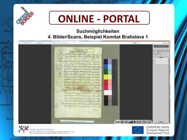ONLINE - PORTAL Suchmöglichkeiten 4. Bilder/Scans, Beispiel Komitat Bratislava 1