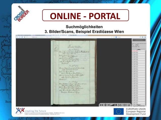 ONLINE - PORTAL Suchmöglichkeiten 3. Bilder/Scans, Beispiel Erzdiözese Wien