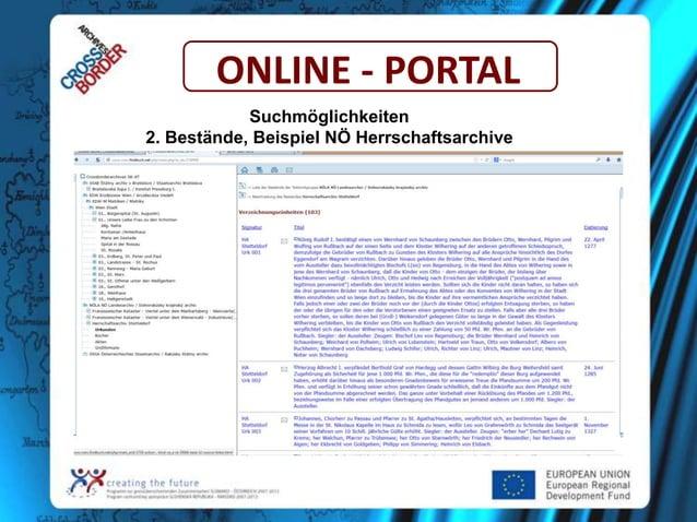 ONLINE - PORTAL Suchmöglichkeiten 2. Bestände, Beispiel NÖ Herrschaftsarchive