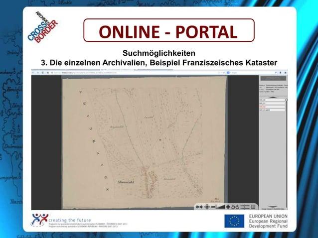ONLINE - PORTAL Suchmöglichkeiten 3. Die einzelnen Archivalien, Beispiel Franziszeisches Kataster