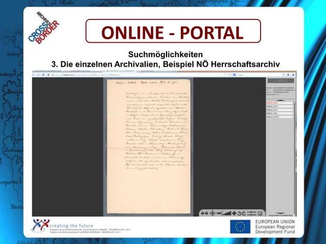 ONLINE - PORTAL Suchmöglichkeiten 3. Die einzelnen Archivalien, Beispiel NÖ Herrschaftsarchiv