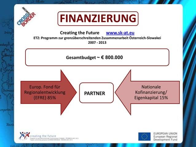FINANZIERUNG Creating the Future  www.sk-at.eu  ETZ: Programm zur grenzüberschreitenden Zusammenarbeit Österreich-Slowakei...