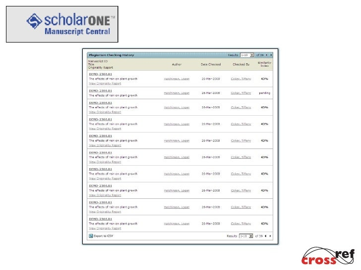 Introduction to Cross Check, Presented at the ScholarOne