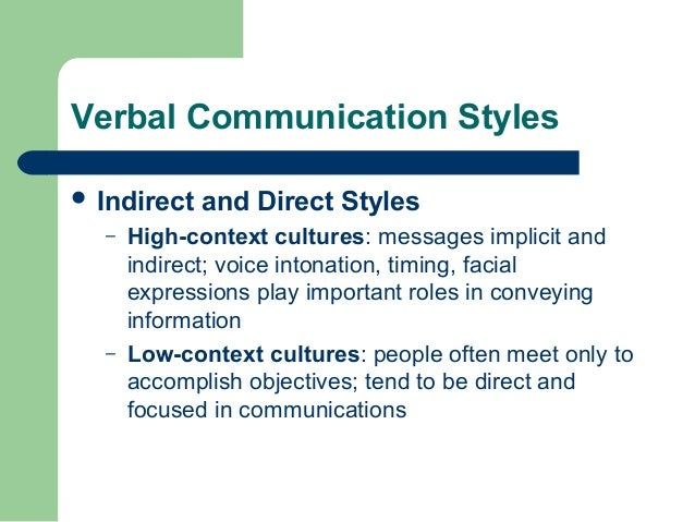 high and low context communication styles The concepts of high context and low context refer to how people communicate in different cultures differences can be derived from the extent to which meaning is transmitted through actual words used or implied by the context high context implies that a lot of unspoken information is implicitly transferred.