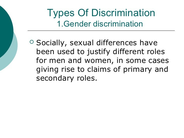 different types of discrimination and coping social work essay Duty to make reasonable adjustments at work equality act 2010 calls this the duty to make reasonable adjustments what are the different types of discrimination.