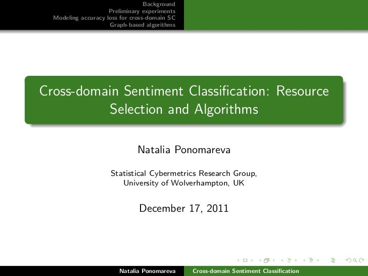 Background                     Preliminary experiments  Modeling accuracy loss for cross-domain SC                     Gra...