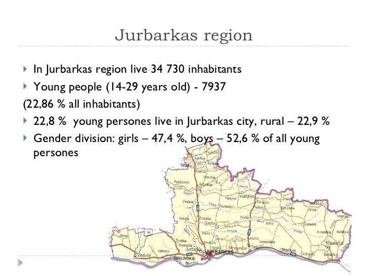 Jurbarkas region <ul><li>In Jurbarkas region live 34 730 inhabitants  </li></ul><ul><li>Young people (14-29 years old) - 7...