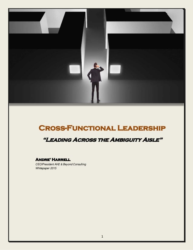 """Cross-Functional Leadership """"Leading Across the Ambiguity Aisle"""" Andre' Harrell CEO/President AH2 & Beyond Consulting Whit..."""