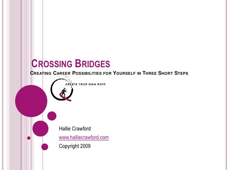 CROSSING BRIDGES  CREATING CAREER POSSIBILITIES FOR YOURSELF IN THREE  SHORT STEPS  Hallie Crawford www.halliecrawford.com...