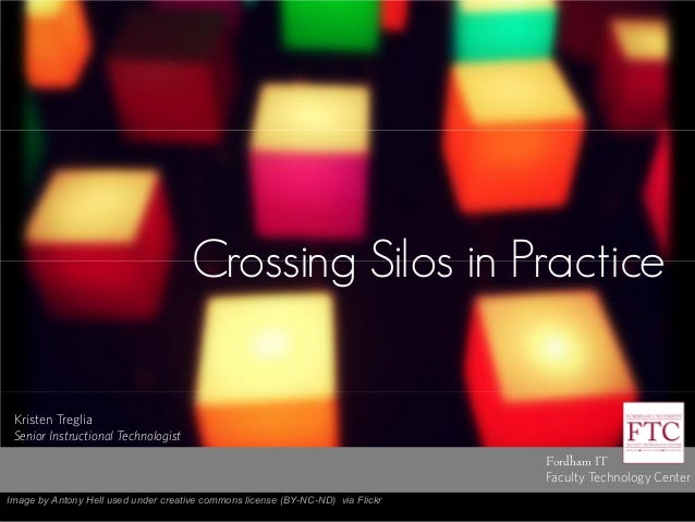 Crossing Silos in Practice Fordham IT Faculty Technology Center Kristen Treglia Senior Instructional Technologist Image by...