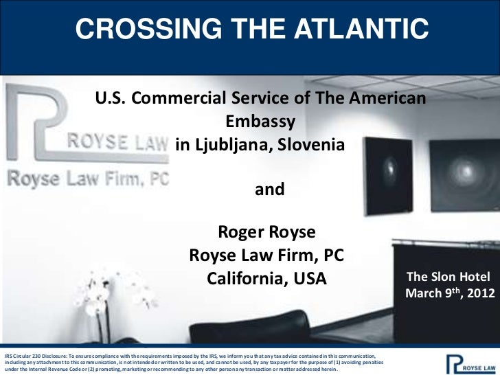 CROSSING THE ATLANTIC                                      U.S. Commercial Service of The American                        ...