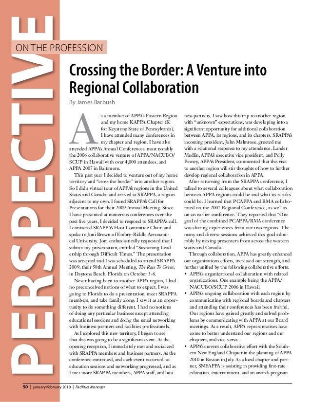 PERSPECTIVE   on the Profession                              Crossing the Border: A Venture into                          ...