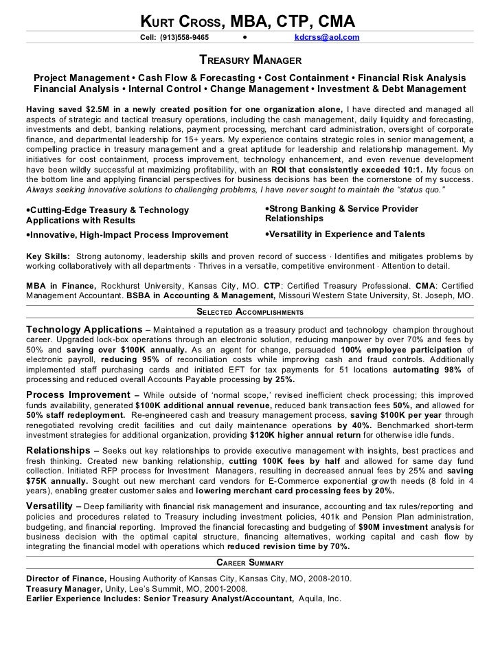 Treasury manager resume