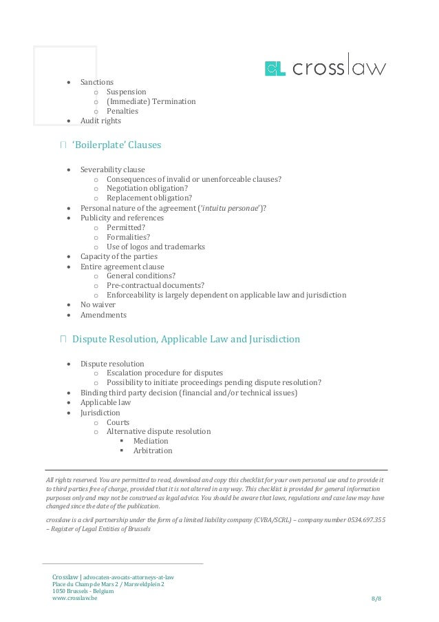 Checklist Licence Agreement English Version Belgian Law