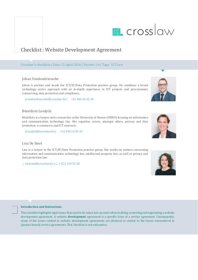 Checklist Website Development Agreement Belgian Law  English Versio
