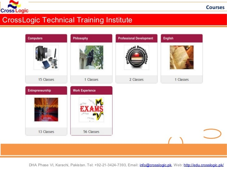 CoursesCrossLogic Technical Training Institute       DHA Phase VI, Karachi, Pakistan. Tel: +92-21-3424-7393, Email: info@c...