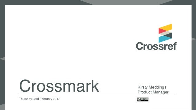 Crossmark Kirsty Meddings Product Manager Thursday 23rd February 2017