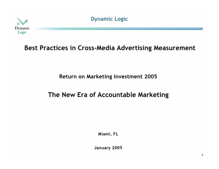Dynamic Logic     Best Practices in Cross-Media Advertising Measurement              Return on Marketing Investment 2005  ...