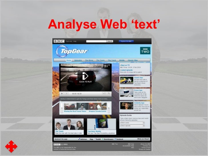 Analyse Web 'text'•What is the purpose of the page?•What is 'above the fold'?•What is 'below the fold'?•What on the page '...