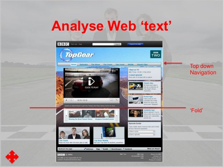 Analyse Web 'text'How does your page use:• A Header• Tables/Columns/A grid• Navigation bars/tools• Buttons (including roll...