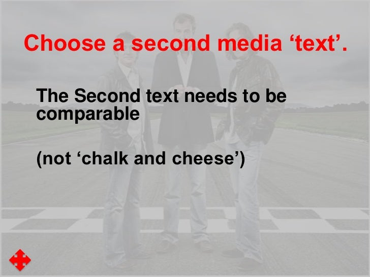 Choosing a Second media 'text'.TV ProgrammeA programme with the same:• Genre/Format (Quiz, Makeover, Talent,)• Theme/Conte...