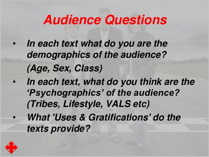 Audience Questions•   In each text what do you are the    demographics of the audience?    (Age, Sex, Class)•   In each te...