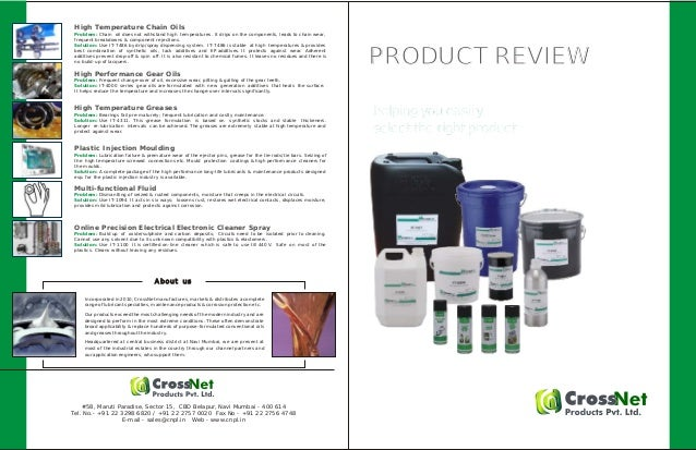PRODUCT REVIEWPRODUCT REVIEW Incorporated in 2010, CrossNet manufactures, markets & distributes a complete range of lubric...