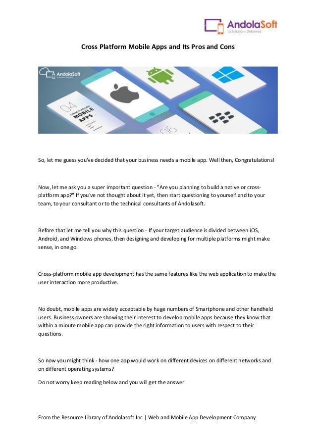 Cross platform mobile apps and its pros and cons from the resource library of andolasoftc web and mobile app development company cross solutioingenieria Image collections