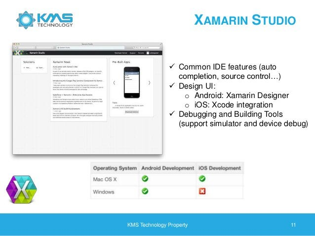 XAMARIN STUDIO KMS Technology Property 11  Common IDE features (auto completion, source control…)  Design UI: o Android:...