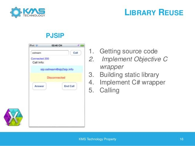 LIBRARY REUSE KMS Technology Property 16 1. Getting source code 2. Implement Objective C wrapper 3. Building static librar...
