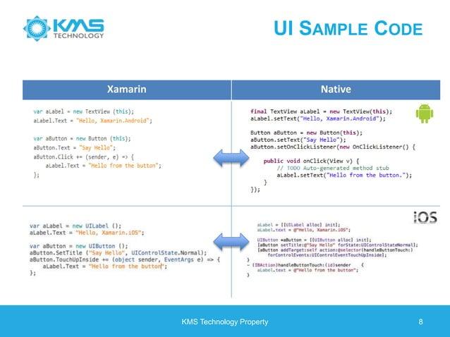 UI SAMPLE CODE KMS Technology Property 8 Xamarin Native