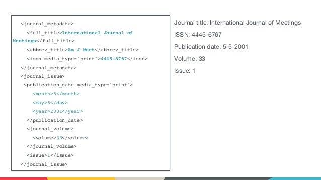 <journal_metadata> <full_title>International Journal of Meetings</full_title> <abbrev_title>Am J Meet</abbrev_title> <issn...