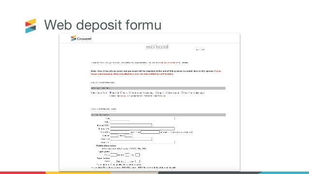 Web deposit formu