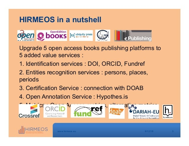 Crossref webinar: Pierre Mounier - Where does publisher metadata go and how is it used 9-11-18 Slide 3