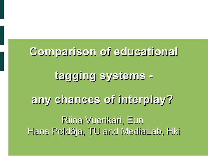<ul><li>Comparison of educational  </li></ul><ul><li>tagging systems - </li></ul><ul><li>any chances of interplay?  </li><...