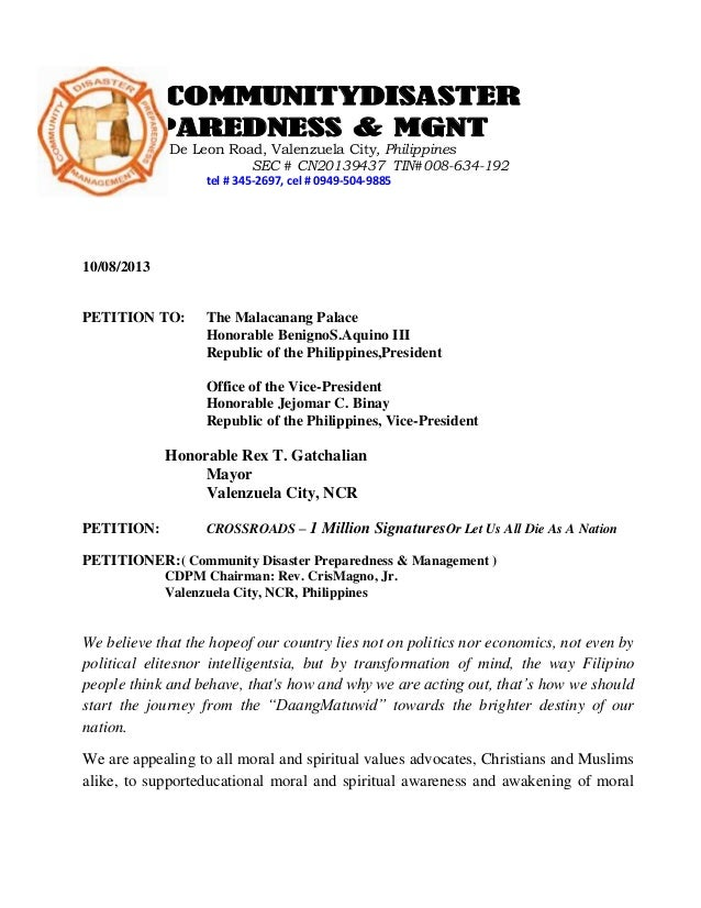 COMMUNITYDISASTER PREPAREDNESS & MGNT 4023 Gen T. De Leon Road, Valenzuela City, Philippines SEC # CN20139437 TIN#008-634-...