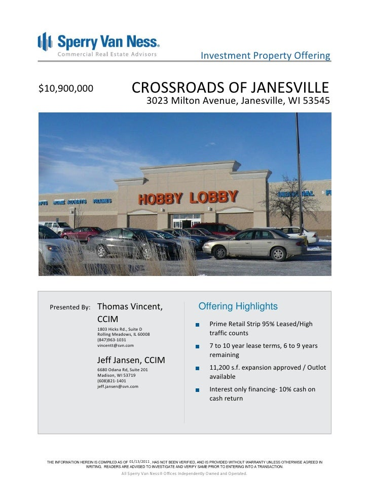 Investment Property Offering$10,900,000                       CROSSROADS OF JANESVILLE                                    ...