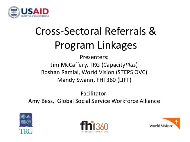 Cross-Sectoral Referrals & Program Linkages Presenters: Jim McCaffery, TRG (CapacityPlus) Roshan Ramlal, World Vision (STE...