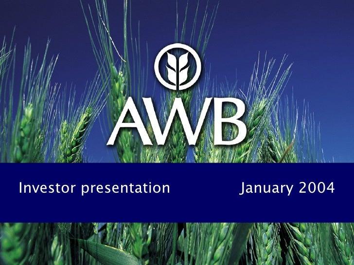 Investor presentation  January 2004