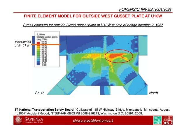 chiara.crosti@uniroma1.it FINITE ELEMENT MODEL FOR OUTSIDE WEST GUSSET PLATE AT U10W Stress contours for outside (west) gu...