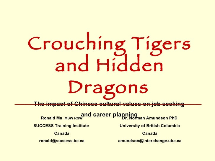 Crouching Tigers and Hidden Dragons   The impact of Chinese cultural values on job seeking  and career planning   Ronald M...