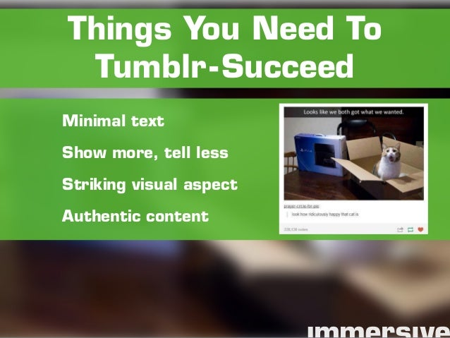 Minimal text Show more, tell less Striking visual aspect Authentic content Things You Need To Tumblr-Succeed