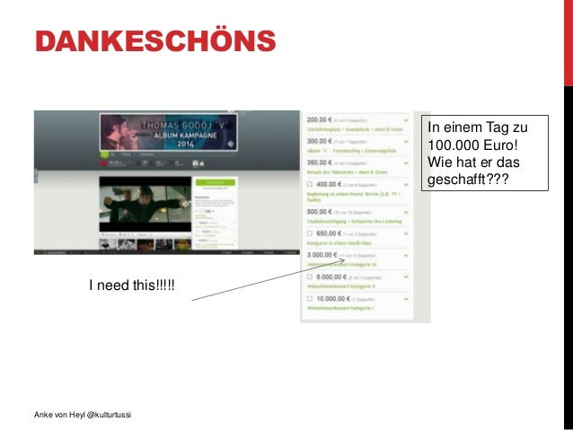 DANKESCHÖNS Anke von Heyl @kulturtussi I need this!!!!! In einem Tag zu 100.000 Euro! Wie hat er das geschafft???