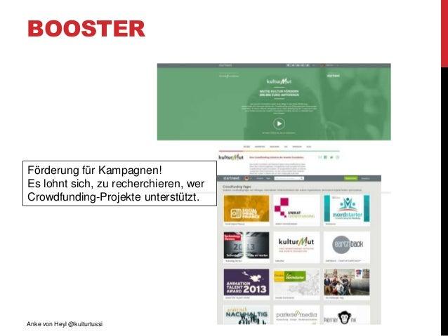 BOOSTER Anke von Heyl @kulturtussi Förderung für Kampagnen! Es lohnt sich, zu recherchieren, wer Crowdfunding-Projekte unt...