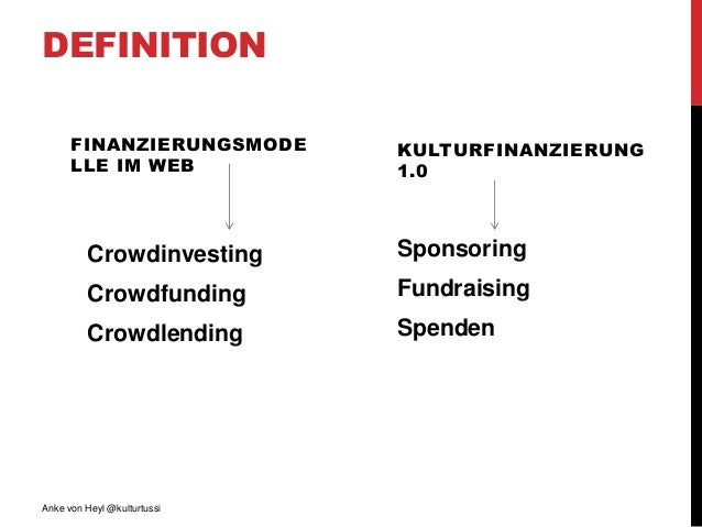 DEFINITION FINANZIERUNGSMODE LLE IM WEB Crowdinvesting Crowdfunding Crowdlending KULTURFINANZIERUNG 1.0 Sponsoring Fundrai...