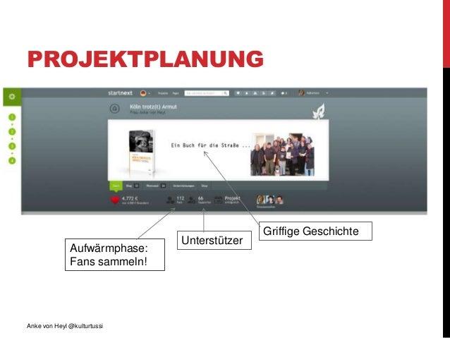 PROJEKTPLANUNG Anke von Heyl @kulturtussi Griffige Geschichte Aufwärmphase: Fans sammeln! Unterstützer