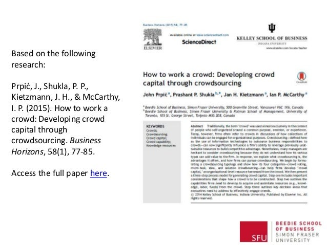 Based on the following research: Prpić, J., Shukla, P. P., Kietzmann, J. H., & McCarthy, I. P. (2015). How to work a crowd...