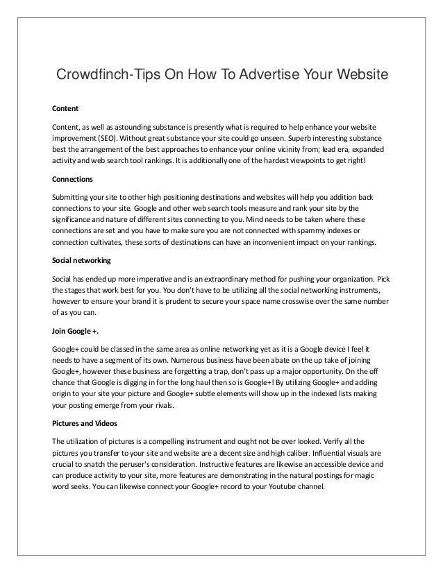 Crowdfinch-Tips On How To Advertise Your Website Content Content, as well as astounding substance is presently what is req...