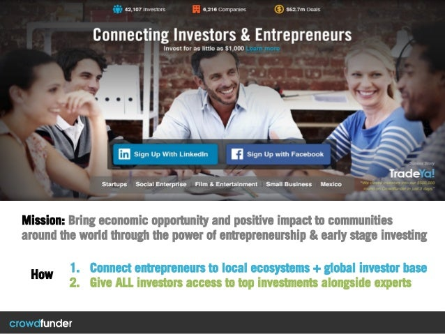 1. Connect entrepreneurs to local ecosystems + global investor base 2. Give ALL investors access to top investments alon...