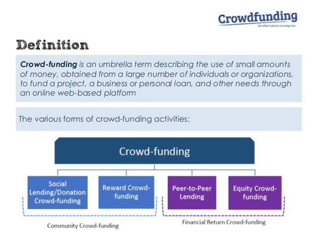 Crowd-funding is an umbrella term describing the use of small amounts of money, obtained from a large number of individual...